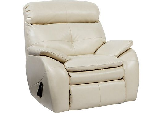 Sink Into Comfort With The Bristol Bay Rocker Recliner Its Covered With Off White Blended Leather Where The Body To Rocker Recliners Recliner Leather Recliner