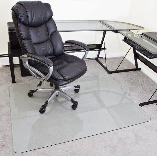 Myglassmat 48 X 60 Inch Tempered Glass Chair Mat For Carpet And Hard Floors Rounded Corners Smooth Polished Edges