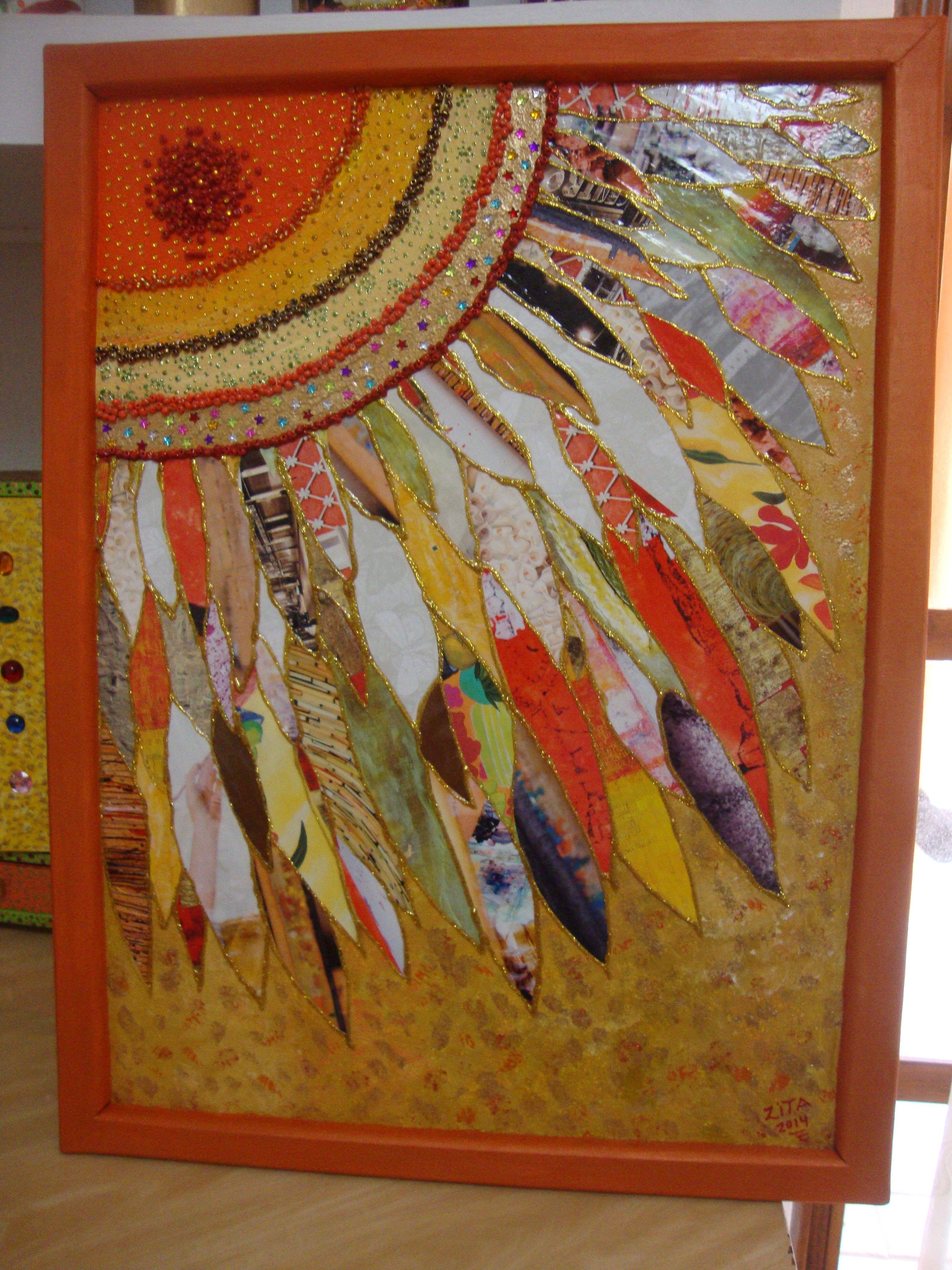 Collage con papel de revistas,espero les guste....   Arte reciclado ...