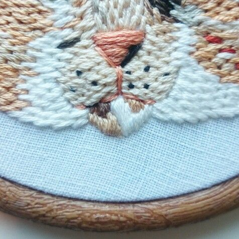 Hand embroidered pet portrait detail by Intwosandthrees
