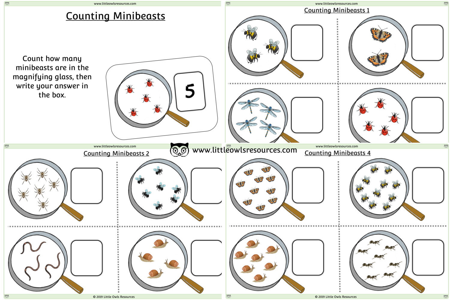 Free Count Minibeasts Printable Early Years Ey Eyfs
