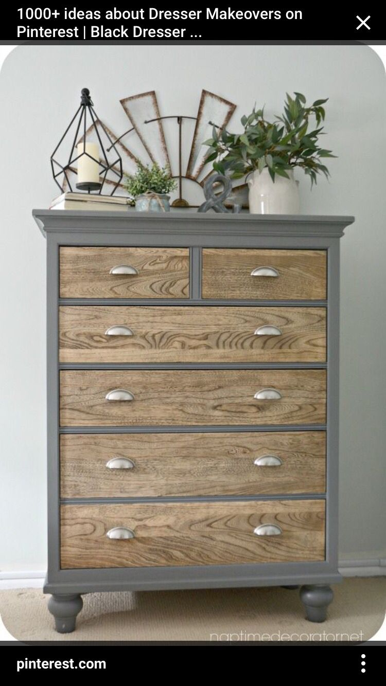 Two Tone W Wood Dresser Idea Rustic Master Bedroom Decor Redo