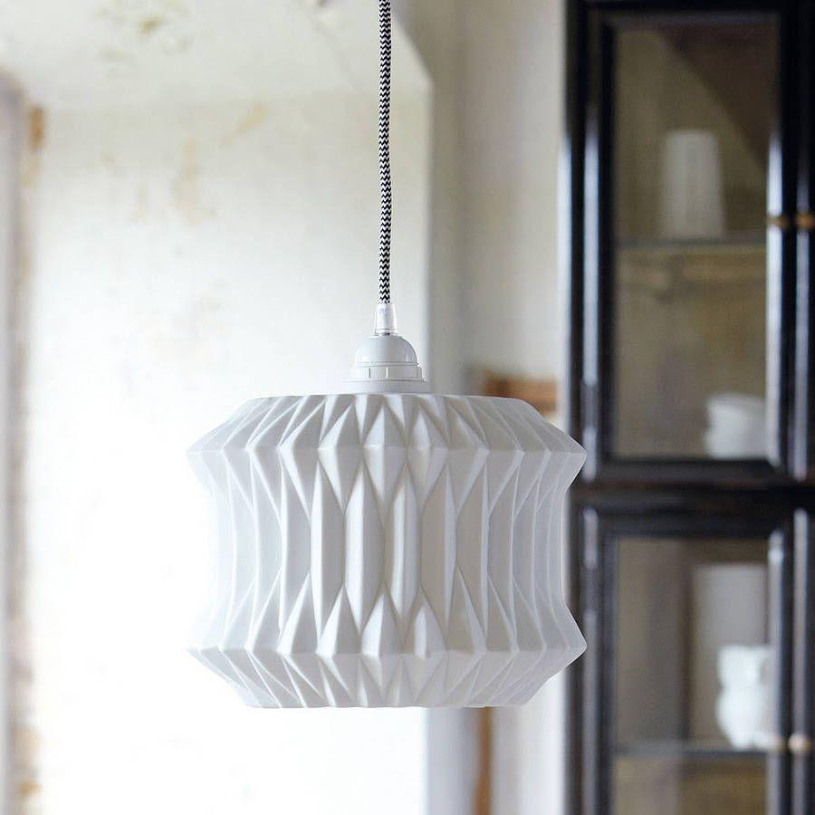 White ceramic lampshade with geometric