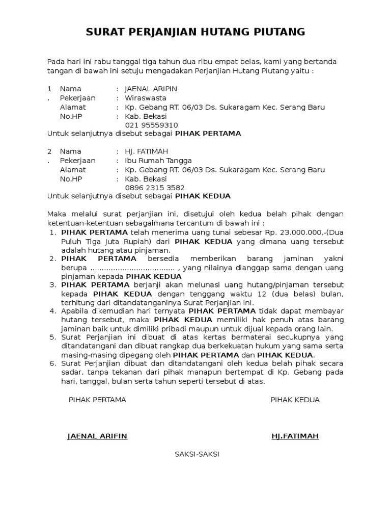 Contoh Surat Pernyataan Hutang : contoh, surat, pernyataan, hutang, Surat, Perjanjian