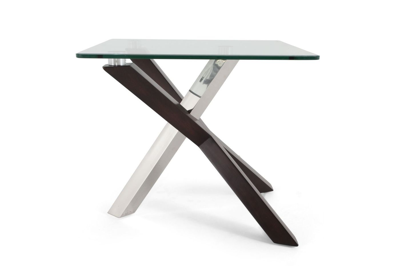 Rectangular Tempered Glass Contemporary End Table in Walnut   Mathis ...