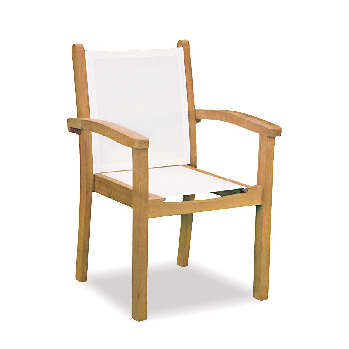 outdoor sling chairs. Teak Stacking Chair With Outdoor Sling | Seneca Collection Chairs