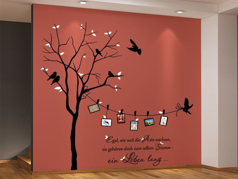 wandtattoo zweifarbiger baum mit fotorahmen fotorahmen. Black Bedroom Furniture Sets. Home Design Ideas