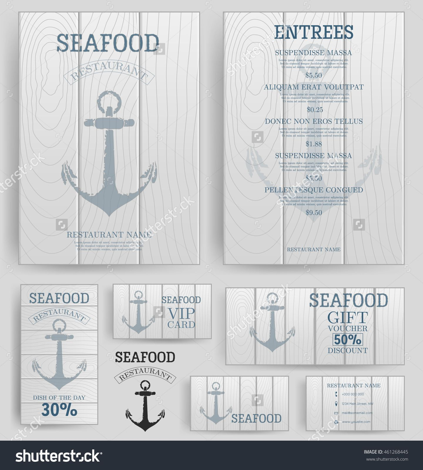 Seafood restaurant menu template anchor on the wooden board seafood restaurant menu template anchor on the wooden board branding business card flyer vip card and gift voucher vector wajeb Choice Image