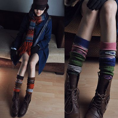 Vintage Knitted heap tights pink knee-high boots tights brown leg warmers $15.90