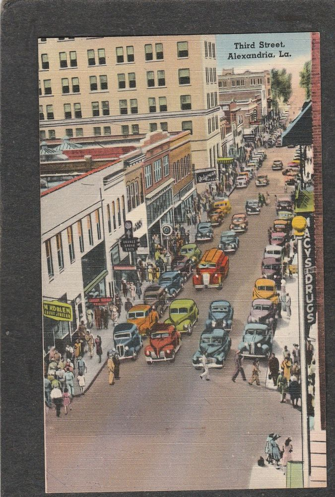 Louisiana Map Alexandria%0A Alexandria LAMai Street linen Macys Drugs     s  antique mint postcard
