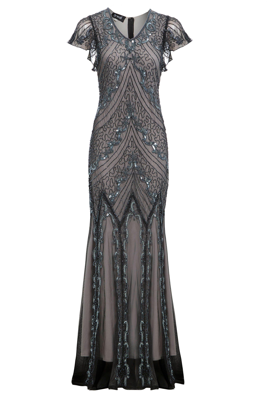 Ellen Beaded Flapper Dress 1920s Great Gatsby Inspired Downton Abbey Grey Wedding Dress Long Prom Mermaid Evening Gown Size S Uk8 Us4 1920s Flapper Dress Beaded Flapper Dress Great Gatsby Prom [ 3000 x 2000 Pixel ]