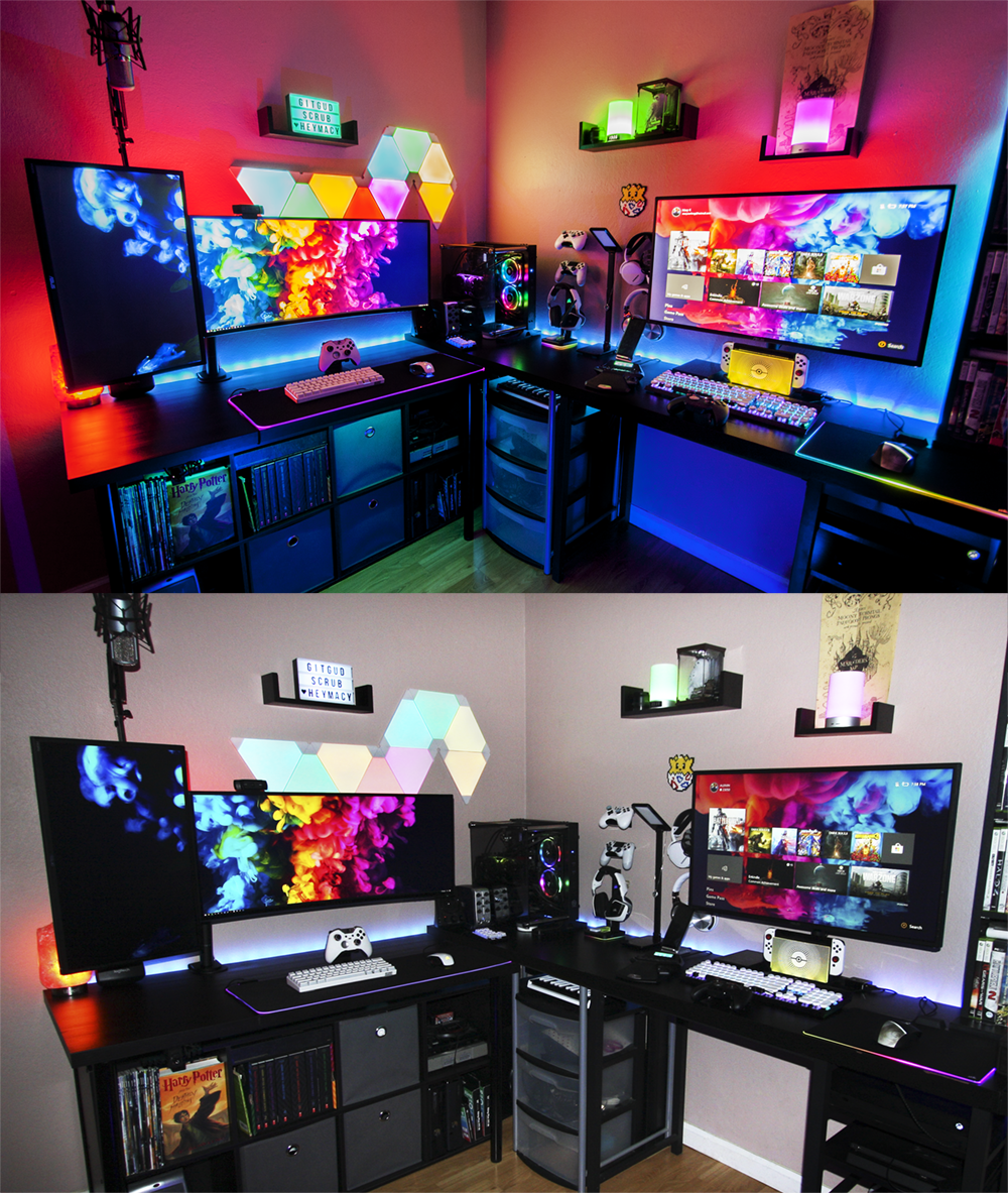 My Ever Changing Setup I Love It But I M Never 100 Satisfied You Know In 2020 Game Room Design Gamer Room Gaming Room Setup