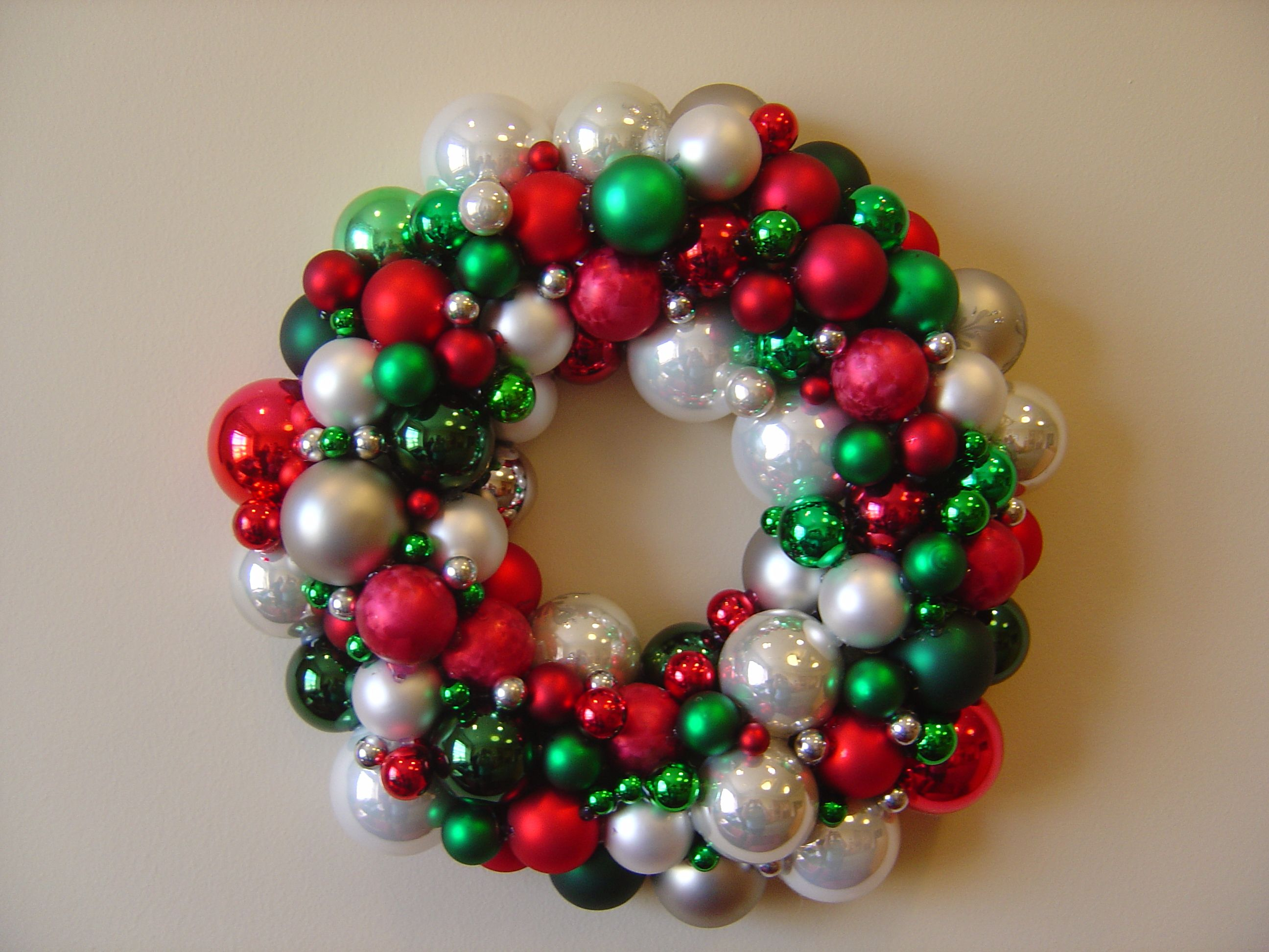 Traditional christmas color wreath made with glass ball ornaments   Glass ball ornaments ...