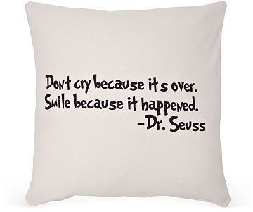 "Dr. Seuss ""Smile"" 20x20 Pillow, Sand <3"