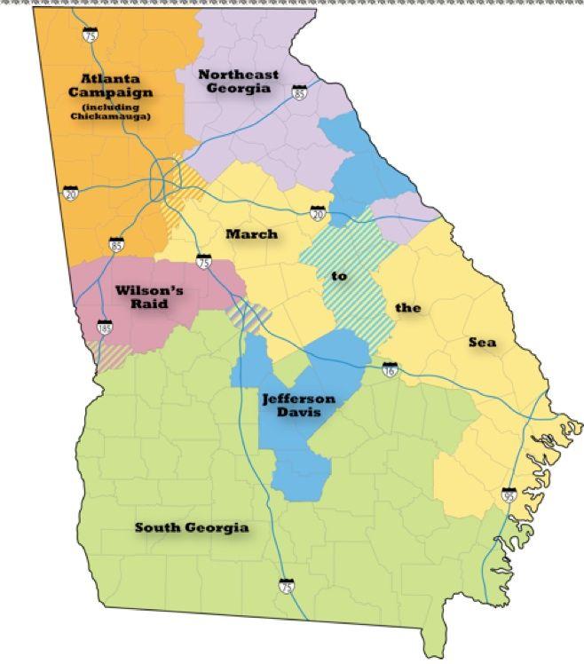The Six Regions Of Georgia Civil War Heritage Trails