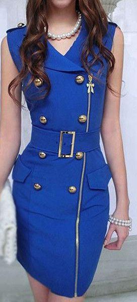SAPPHIRE BLUE DOUBLE BREASTED BUCKLE FITTED DRESS