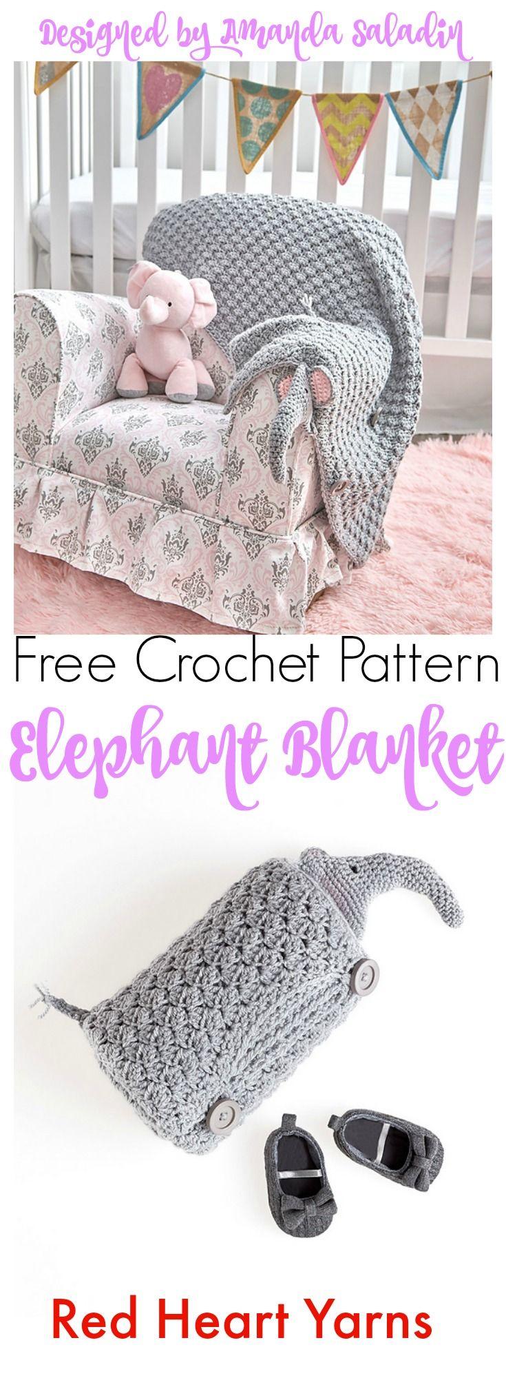 Elephant Blanket - Free Crochet Pattern | Pinterest | Cobija, Manta ...