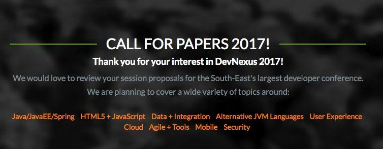#java #JavaOne RT devnexus: The Call for Papers for Devnexus 2017 is now open. Sign up here  http://pic.twitter.com/ZQFiMB8rbL   Design Software (@DesignSoftware4) August 16 2016