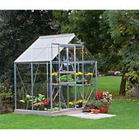 Eden Aluminium Popular Silver Greenhouse with Horticultural Glass & Base…