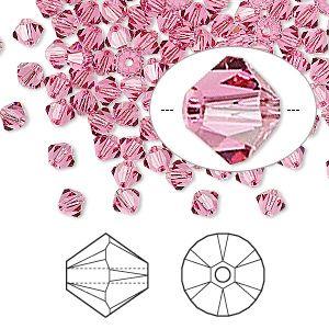 Bead, Swarovski crystals, rose, 4mm Xilion bicone (5328). Sold per pkg of 144 (1 gross).