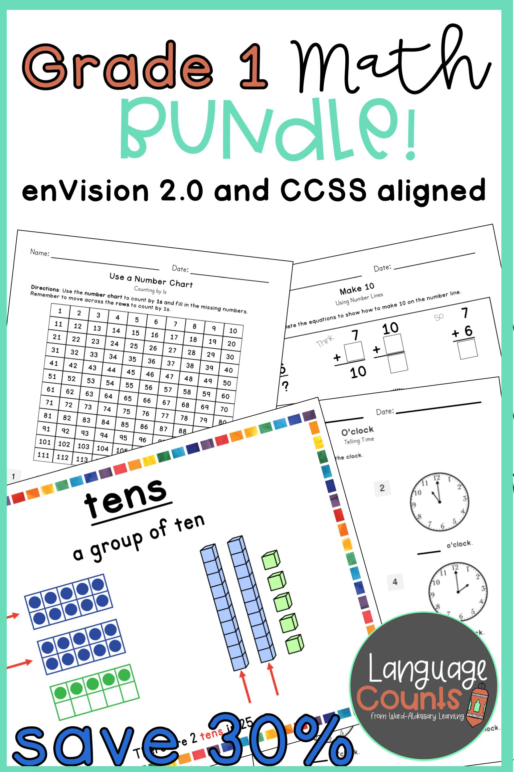 Distance Learning Envision 2 0 Aligned 1st Grade Bundle