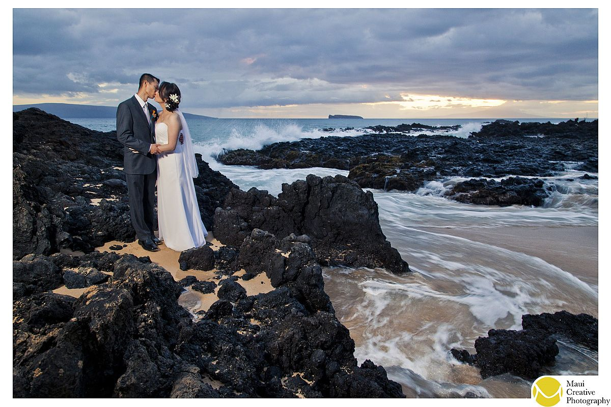 Makena Cove is such a beautiful location!  Congrats to Chi & Alex!  Photograph by Maui Creative Photography.  www.mauicreativephotography.com #wedding #hawaii #ido