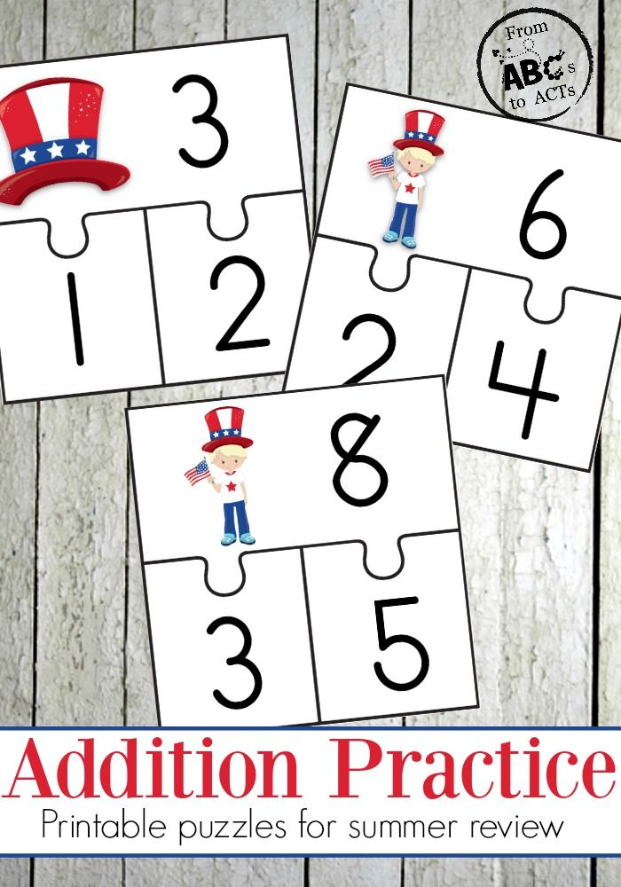 Summer Math: Patriotic Addition Puzzles