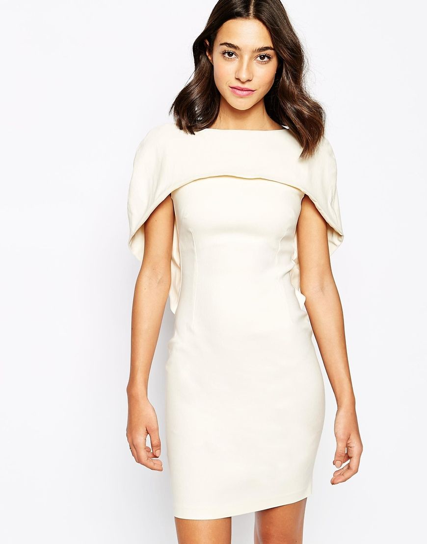 Vesper Y Pencil Dress With Cape Shoulder Asos 105