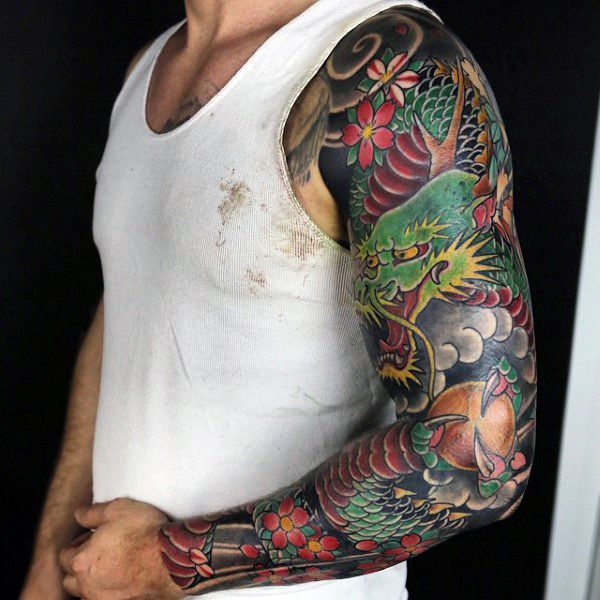 100 Dragon Sleeve Tattoo Designs For Men Fire Breathing Ink Ideas Dragon Sleeve Tattoos Dragon Sleeve Tattoo Sleeve Designs
