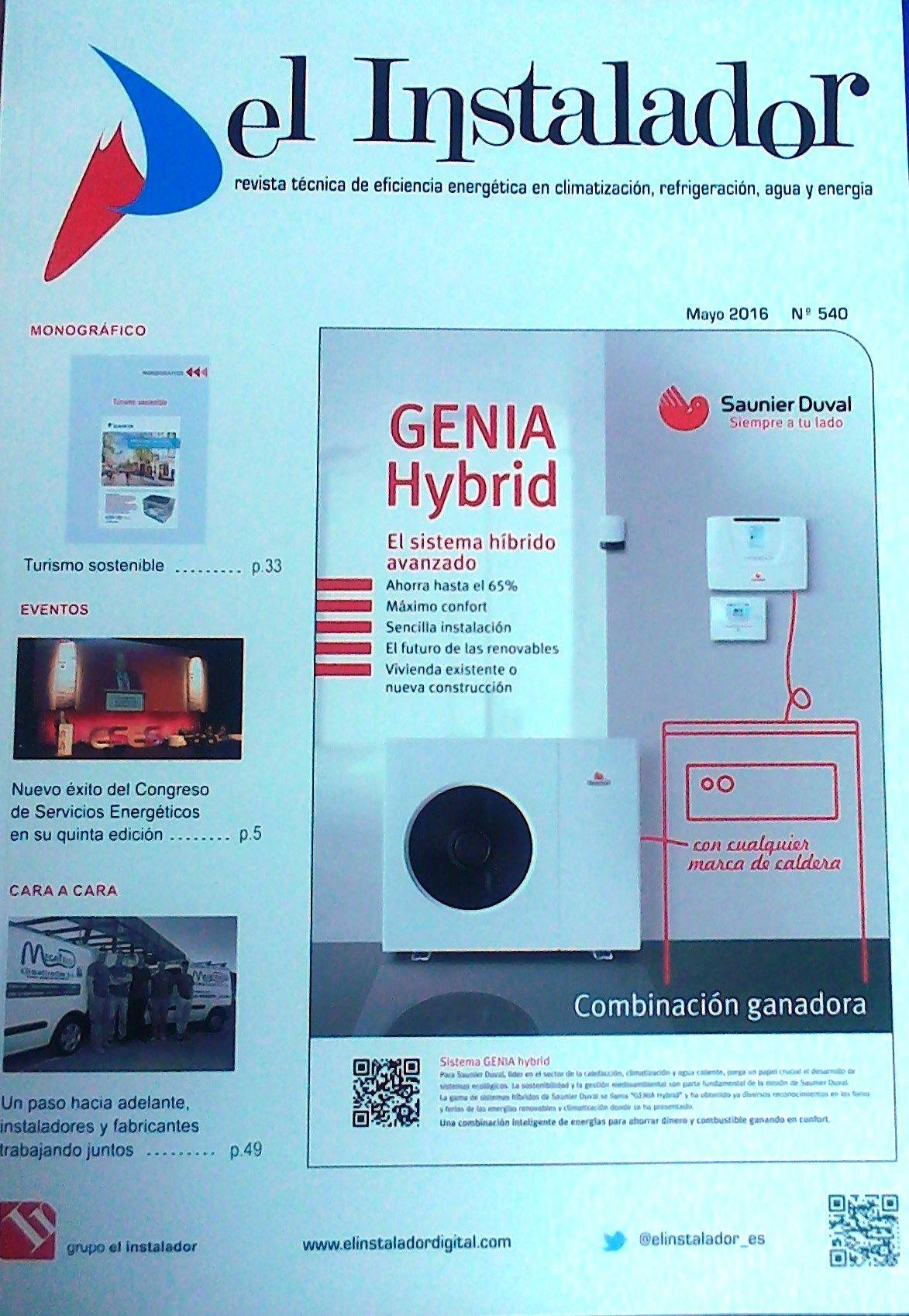 El instalador : revista técnica de eficiencia energética en climatización, refrigeración, agua y energía. Nº 540 (Mayo 2016). Sumarios: http://sfx.bugalicia.org/aco?sid=III:innopac&pid=id=02104091.... No catálogo: http://kmelot.biblioteca.udc.es/search*gag/?searchtype=m&searcharg=el+instalador&searchscope=1&SORT=D&B1=Buscar...