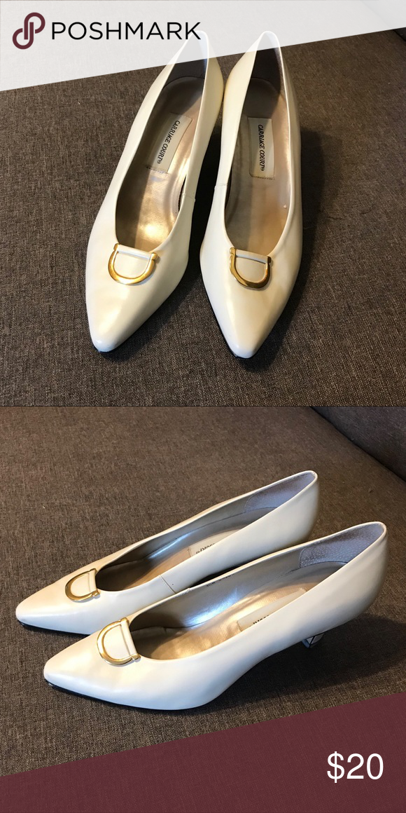 White Leather Heels W/ Gold Accent Size
