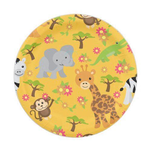 Baby Safari Yellow Paper Plate  sc 1 st  Pinterest & Baby Safari Yellow Paper Plate | Yellow paper