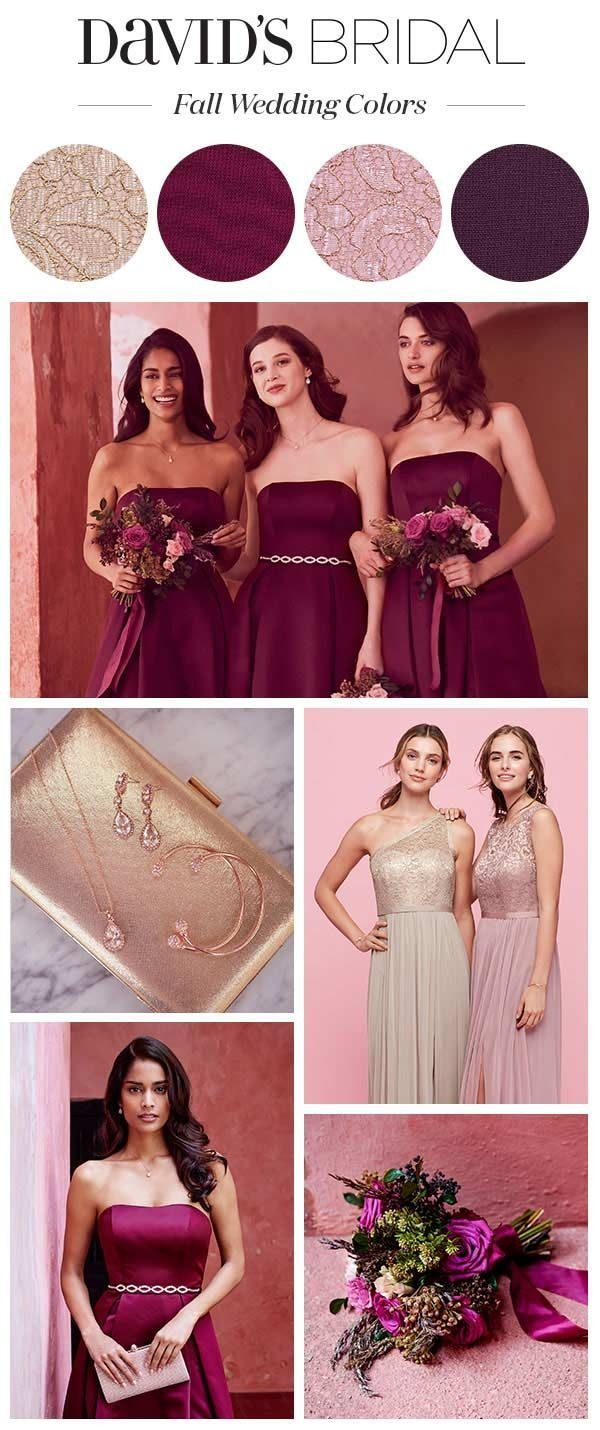 The Best Fall Wedding Colors Are Rich And Warm Like These Plum And Wine Shades Toss In Wine Colored Wedding Plum Bridesmaid Dresses Gold And Burgundy Wedding