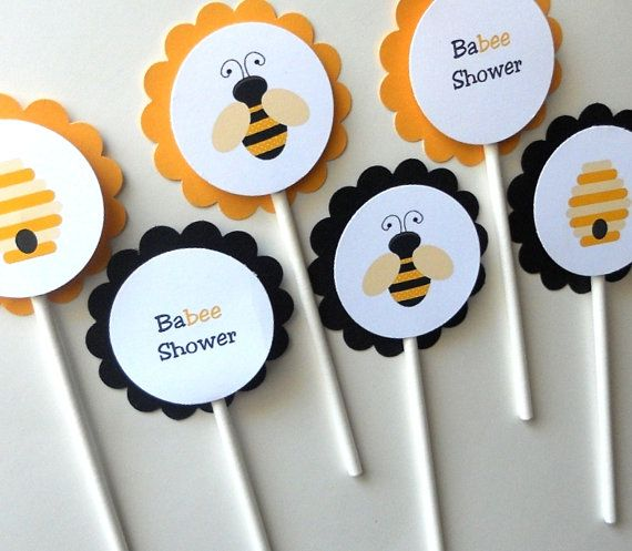 Bumble Bee Baby Shower Cupcake Toppers By DiaperCakeBoutique 1000
