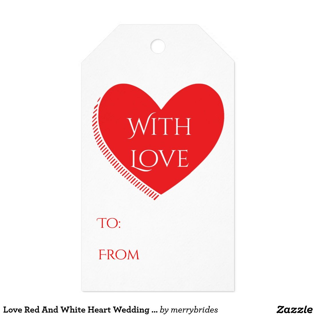 Love Red And White Heart Wedding Party Gift Favor Gift Tags | Party ...