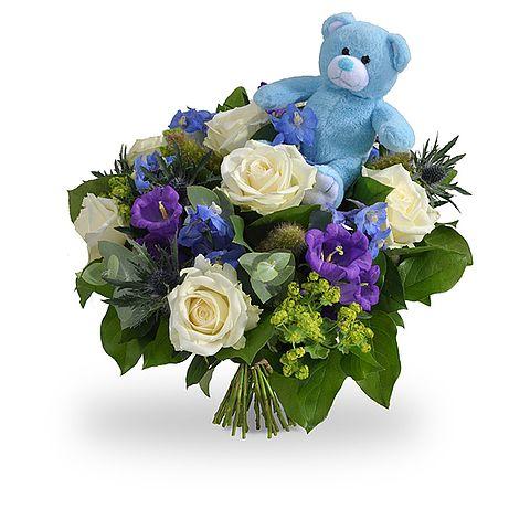 Geboorte jongen met knuffelbeertje groot New born bouquet Greenhouse Noordwijkerhout online te koop via http://www.greenhouseonline.nl/nl/topbloemen-shop