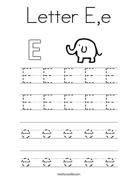 Letter E E Coloring Page Twisty Noodle Writing Practice
