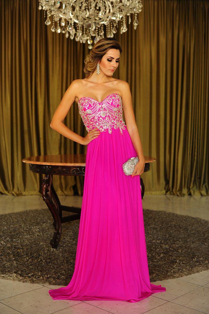 vestido de festa hot pink   Vestidos fucsia rosados magenta largos ...