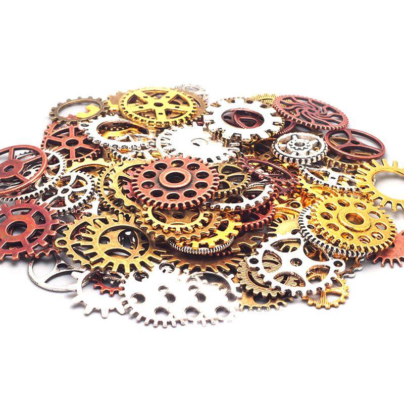 100g Steampunk Wheel Gear Pendant Charms for Bracelet Jewelry Finding Making