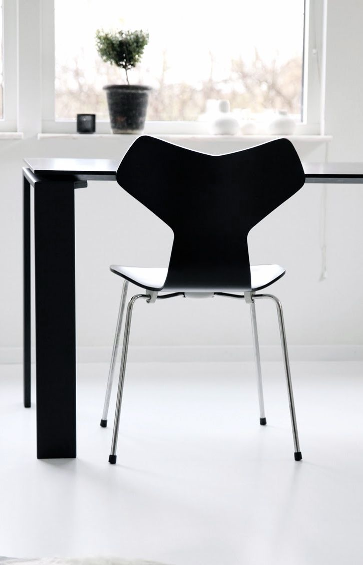 Arne jacobsen interior via j levau  arne jacobsen grand prix chair  black white  mid