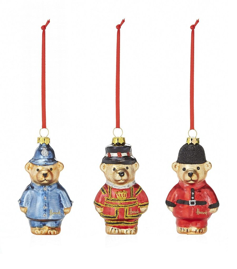 London bear ornaments from Harrods | Glass christmas ...