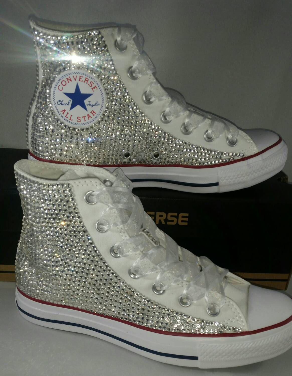 Full Bling Bridal Converse- Wedding Converse- Bling Pearls Custom Converse  Sneakers- Personalized Chuck Taylors- AllStar Converse Sneakers by ... fb0f46840