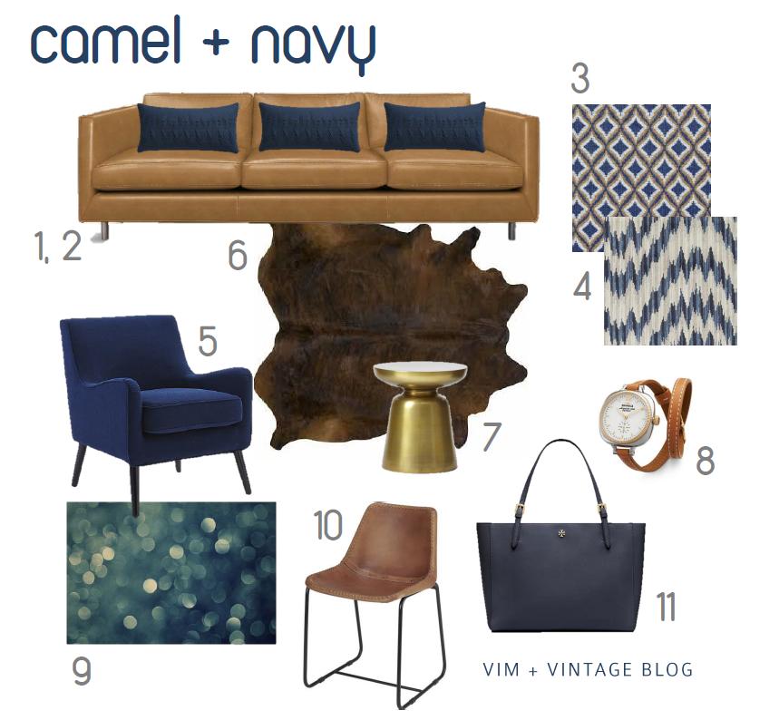 Camel navy inspiration color board home dreaming for Camel sofa color scheme