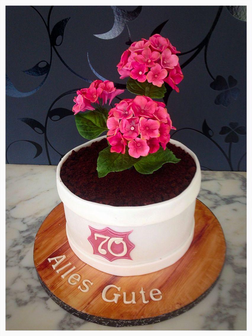 Blumentopf Torte Mit Hortensien Geburtstagstorte Handtasche Torte Kuchen Ideen