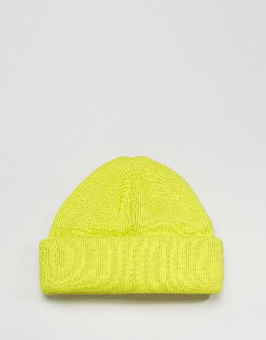 d364e9906e1 ASOS Mini Fisherman Beanie in Neon Yellow - Green