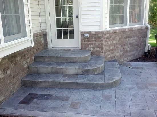 Stamped Concrete Front Steps | Stamped Concrete Designs in Michigan ...
