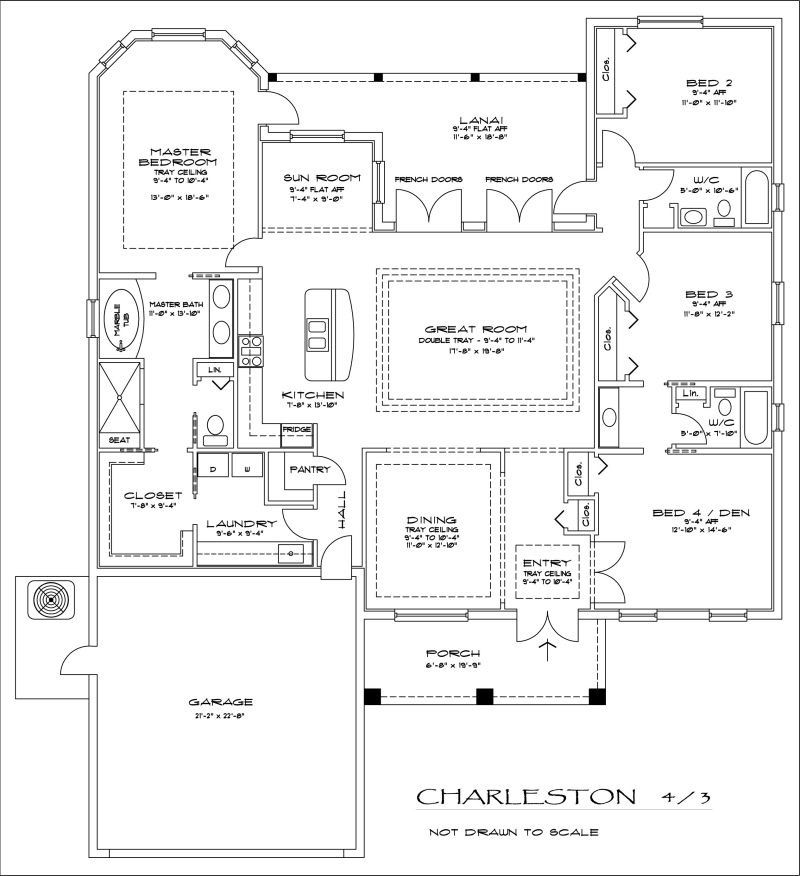 Take The Dining Room Out And The Entry And Den Also Make Three Car Garage Instead With Courtyard Small House Plans Bedroom House Plans Courtyard House Plans