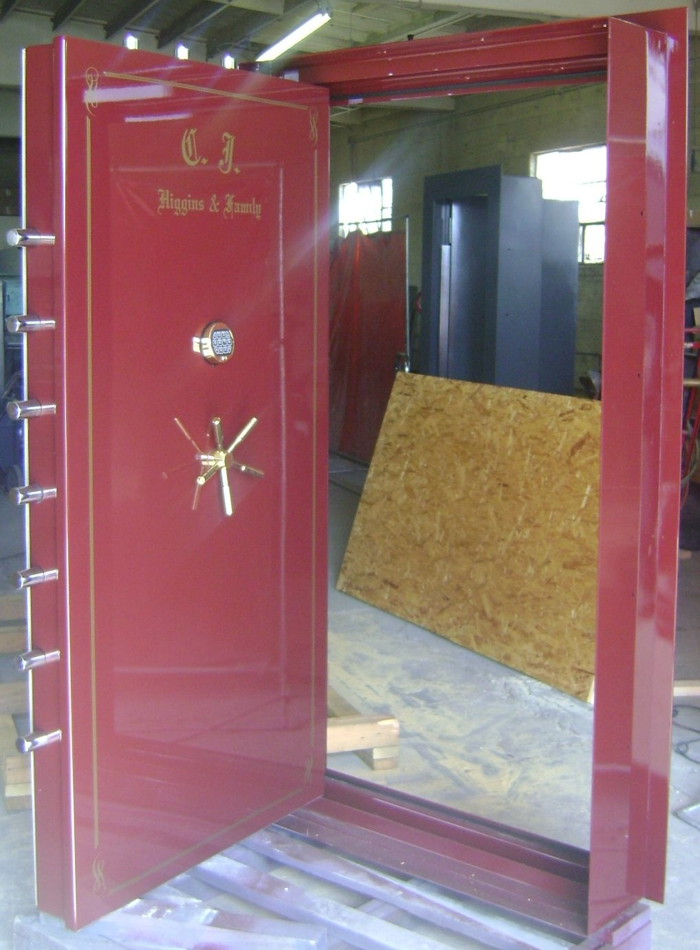 Burgundy storm shelter door safe room vault doors safe