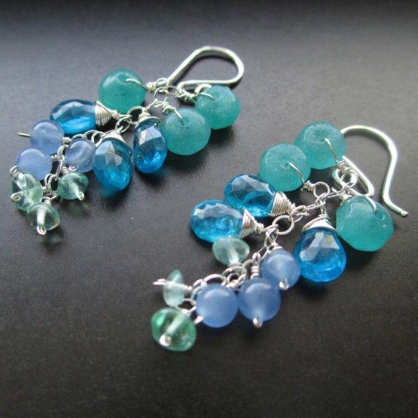 Blue Short Waterfall Earrings