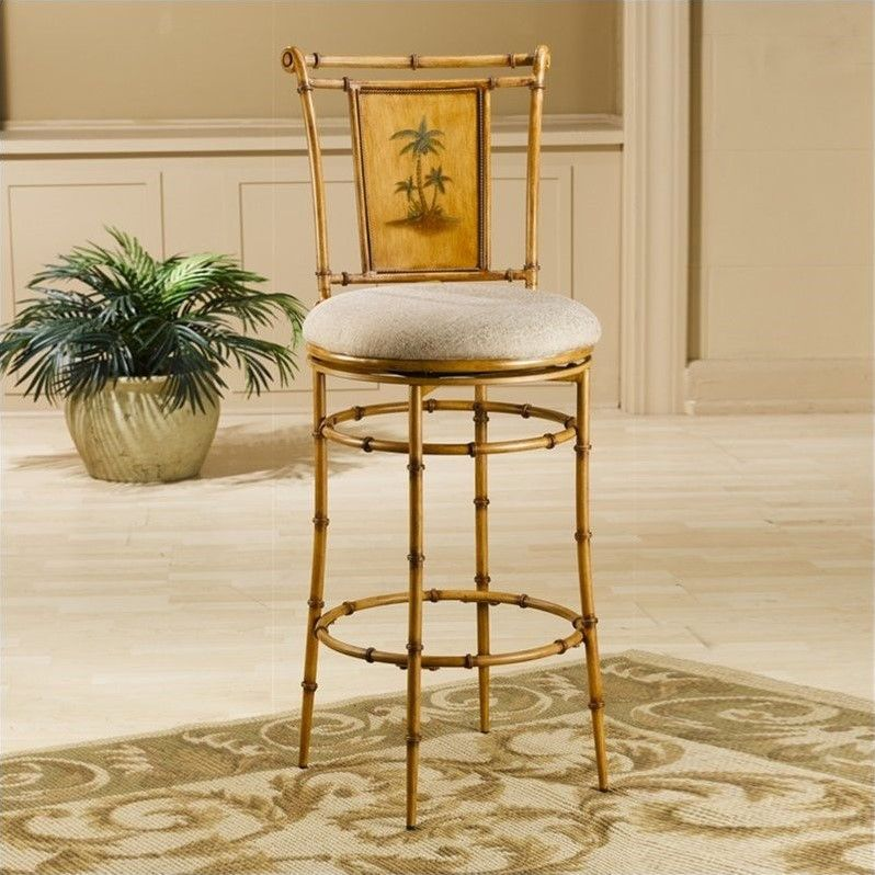 "Hillsdale West Palm 30"" Swivel Bar Stool In Bamboo"